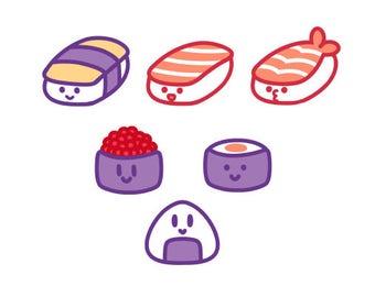 Sushi Sticker Set, Set of 6 Stickers // 200GSM Acid Free