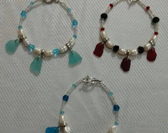 Red Sea glass bracelet, aqua sea glass bracelet, turquoise sea glass bracelet, rare sea glass bracelet, sea glass bracelet, rare sea glass