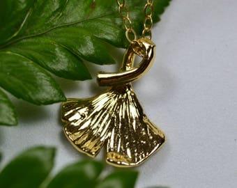 Ginkgo Leaf Necklace - 14k Gold Fill