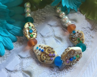 Mothers Day Gift, Aqua and Gold Bracelet, Lampwork Jewelry, SRA Lampwork Bead Bracelet, Mothers Day Gift, Gift For Her