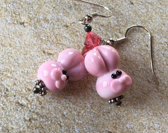 Easter Jewelry, Easter Earrings, Easter Bunny Earrings, SRA Lampwork Beads, Lampwork Earrings, Gift for Her