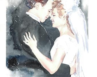 Custom wedding portrait from photo, bride watercolor realistic portrait, personalized wedding art, commission portrait