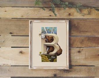 Animal Letters Monogram Print | B, Bear | Living Lettering Illustration