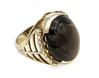 Art Deco Womens Ring, Dark Brown Smoky Quartz Ring, Gold plate Silver, 925 Sterling Silver, Antique 30s jewelry, Cage Band ring, Ring Size 6