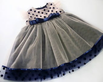 Two tone tutu dress, baby tulle dress, first birthday, polka dot tulle girl dress for photo shoot, wedding dress, best present, Girl Outfit