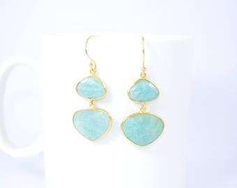 emezonite earring,light green color earring,amazonite jewelry ,double stone earring,irregular shape earring,Christmas gift,bezel earring
