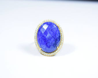 sapphire ring,blue color ring,gemstone ring,natural stone ring,oval shape ring,Christmas gift,sapphire pave ring,birthday gift,