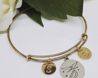 Guardian Angel charm bangle with Personalized Name, Word, Initials - Bracciale rigido angelo custode e iniziale, parola, nome personalizzati