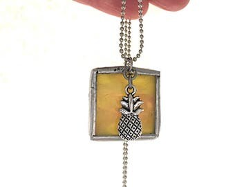 "Pineapple Stained Glass Square Necklace  - 30"" 1.5mm Ball Chain. Great Gift! Handmade in Greenville SC"