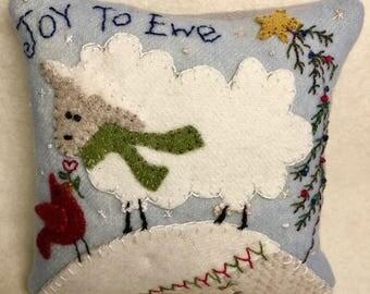 E-Pattern Joy To Ewe Wool Applique Pin Cushion 5x5 inches