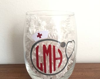 Personalized Nurse Wine Glass!