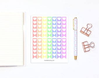 Rainbow Heart box to do list flag stickers - 14 stickers for erin condren life planners, happy planners and bullet journals