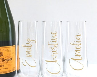 Personalized Champagne Flutes - Bridesmaid Gift - Bachelorette Favor - Birthday Party Favor - Stemless Wedding Champagne Flutes