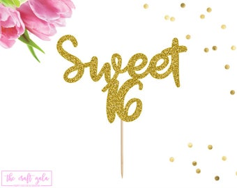 Sweet 16 Cake Topper, Sweet Sixteen, Birthday Cake Topper, Happy 16th Birthday, 16th Birthday Party, Sweet 16 Party Decor, Happy Sweet 16