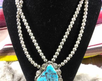 Vintage Turquoise Sterling Silver Necklace by LA