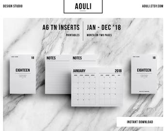 A6 TN Insert | 2018 monthly Calendar | Month on Two Pages | Travelers Notebook Insert | Printable Insert | MO2P |