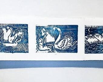 Leda and the Swan, Rewritten - Woodcut Series