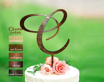 Letter c cake topper, wood initial cake topper, cake topper Initials, rustic monogram cake topper wood, wedding cake topper letter c, CT#186