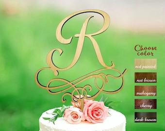 Letter r Cake Topper, Wood Initial Cake Topper, Wedding Cake Topper Single Letter, Single Letter Cake Topper, Monogram Cake Toppers, CT#223