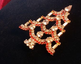 Signed - Ron Red and Clear Crystal Christmas Tree Brooch with Candles