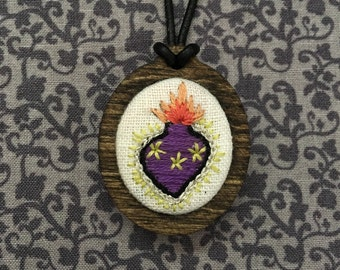 Sacred Heart Hand Embroidered Necklace with wooden Pendant
