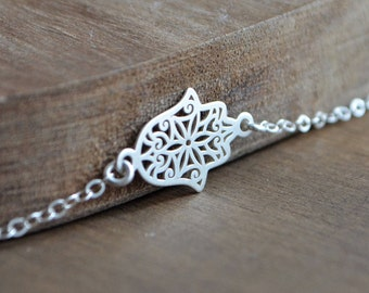 Hamsa Necklace in Sterling Silver, Sideways Hamsa Necklace, Gift for Her, Filigree Layering Silver Necklace,Hand, Minimalist, Collier Khamsa