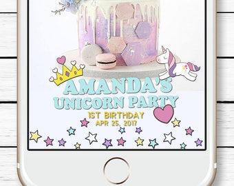 Magical Unicorn Baby Shower, 1st birthday Geofilter, Unicorn Snapchat Filter, Unicorn Party, Kids Birthday Filter, Gender Reveal Snap chat