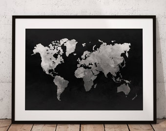 World Map Print, World Map Art, World Map Poster, Map Of The World Print, Map Of The World Wall Art, Printable Map Of The World Poster Art