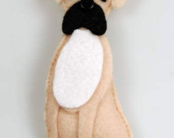 Felt Boxer Dog, Handmade Twig Tree Decoration, Wardrobe/Latch Key decoration