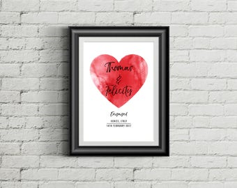 Heart Engagement Print | Personalised Print | Engagement Gift | Engaged