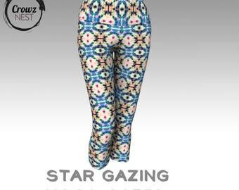Star Gazing Yoga Capri - Custom Artwork Tights