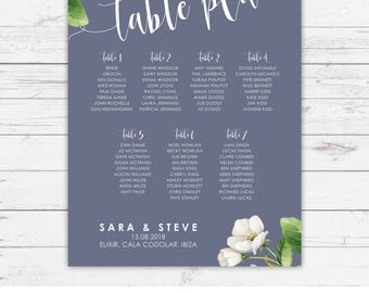 Blue wedding table plans - Botanicals design, personalised with your details and your guest names