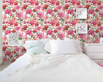 Floral Temporary Self Adhesive Removable Wallpaper with Blooming Pink Peonies and Red Roses White wall mural Watercolor Illustration CC047