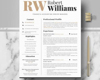Modern & Professional Resume Template for Word or Mac Pages, Modern CV Design, Editable modern Resume, CV; Professional CV, Curriculum Vitae
