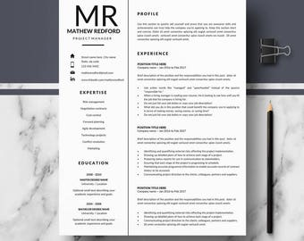 Professional Resume Templates; Minimalist Resume, CV template for Pages & Ms Word; Modern Resume, CV; Resume, CV design; Instant Download cv