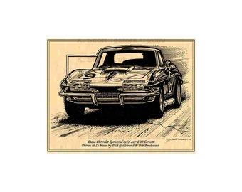 1967 427 Corvette L88 Race Car Corvette Print,1967 Corvette C2,67 Corvette,Goldstrand,Bondurant,427 L88 Corvette Racer,Corvette Art