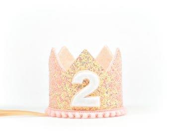 Second Birthday Crown | Second Birthday Party Hat | Pink Glitter Crown | Glitter Crown | Birthday Girl Outfit | 2nd Birthday Cake Smash