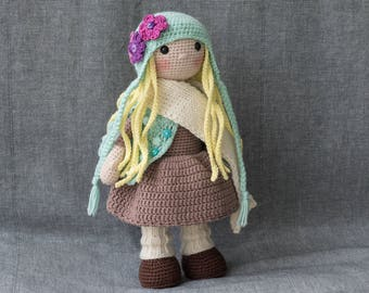 FREE SHIPPING - Crochet doll POLLY - Amigurumi doll - Stuffed doll - Handmade doll - Interior doll