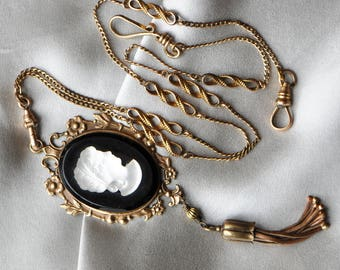 Grecian Moon - Vintage German Glass Cameo Gold Tassel Reconstructed Jewelry Assemblage Necklace with Antique Muff Chain