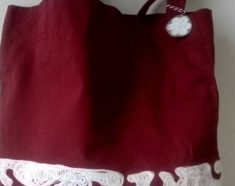 Red and White embroidered handbag Shoulder bag White embroidery Red tote bag