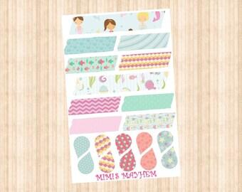 Cute Mermaid Washi Strips & Drops // Happy Planner // Erin Condren //Personal