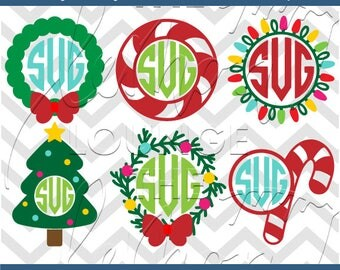Christmas Monogram svg, 6 Christmas monogram svg, fir monogram svg, christmas tree monogram svg, candy cane monogram svg, commercial use OK