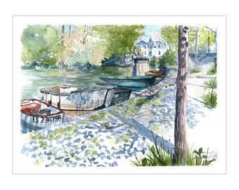 Watercolor french river, landscape of the Loire, river and boats illustration, river scenery, nature drawing, summer view, original painting