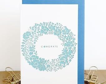 Congrats papercut card, Congratulations wreath card, Exam done card, New job card, Goal achieved card, Achievement card, Well done you card