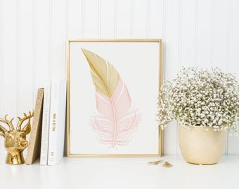 Gold and Pink Feather Print-Feather Print-Bird Feather Print-Pink Gold Feather-Bedroom Print-Girls Room Nursery Feather Art-Instant Download