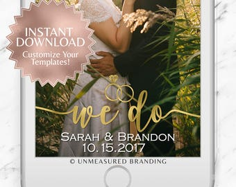 """Gold Foil """"We Do"""" Wedding Snapchat Geofilter Instant Template"""