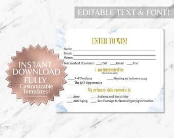 Blue Marble RF Printable Raffle Ticket and Contact Card INSTANT Template