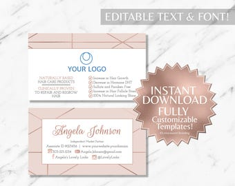 Rose Gold and Blush Pink Hair Salon and Monat Business Card INSTANT Template