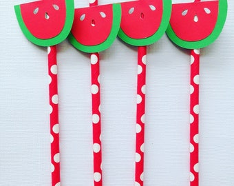 Watermelon decorative straws
