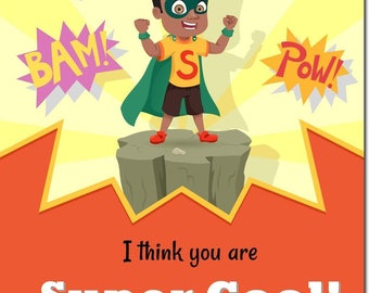 African American Superhero Classroom Valentines - Personalized Kids Valentines - African American Day Cards  - Boy Valentines